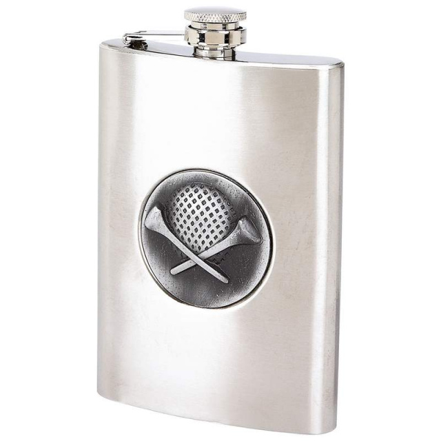 Maxam® 8oz Stainless Steel Flask with Golf Emblem