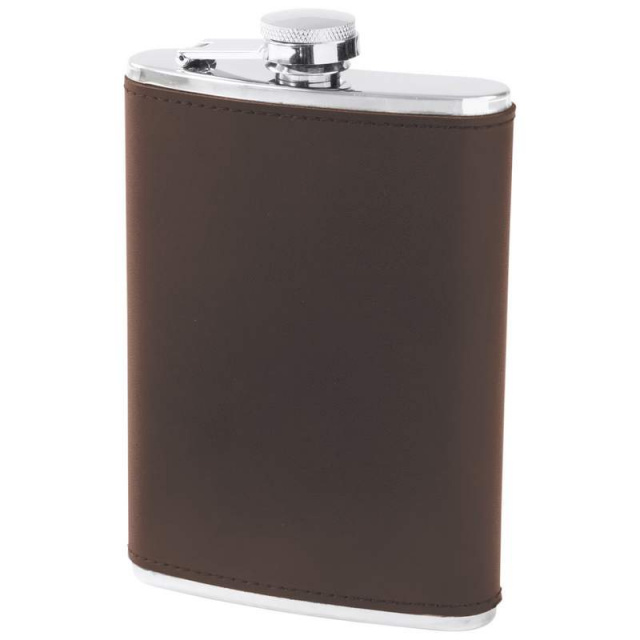 Maxam® 8oz Stainless Steel Flask with Genuine Brown Leather Wrap