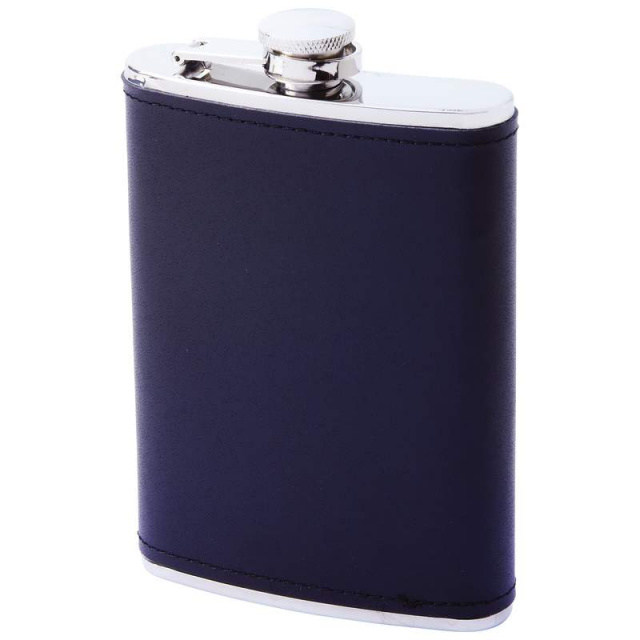 Maxam® 8oz Stainless Steel Flask with Solid Genuine Leather Wrap